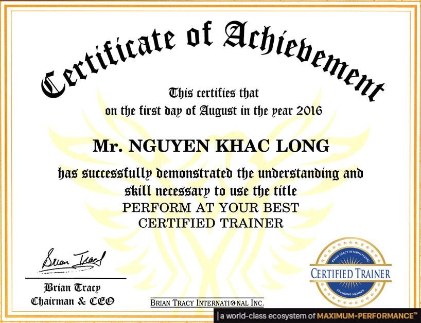 Mega Guru Brian Tracy Cerfied Trainer Certification Nguyen Khac Long OlymWorld Performance Nang Luc