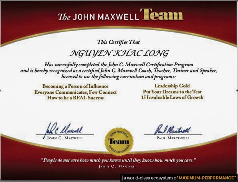 Mega Guru John Maxwell Cerfied Trainer Certification Nguyen Khac Long OlymWorld Performance Nang Luc
